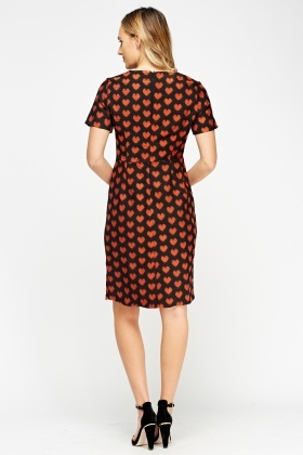 Heart Print Pencil Dress