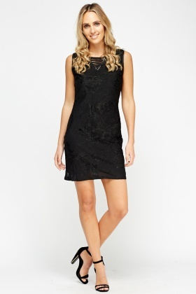 Mesh Overlay Shift Dress