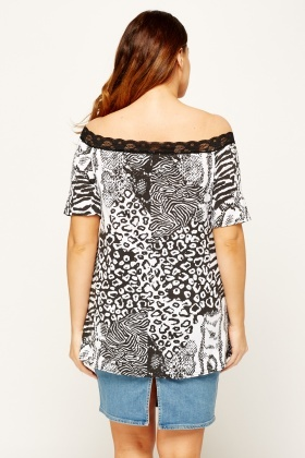Mixed Animal Print Off Shoulder Top