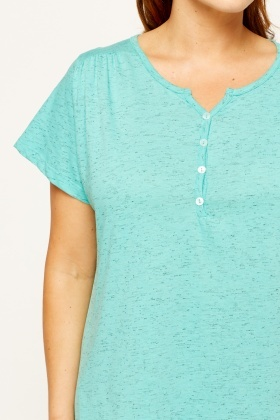 Speckled Button Neck Top