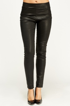 Black Waxed Leggings