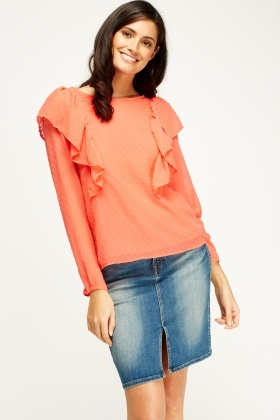 Mesh Bobble Flared Blouse