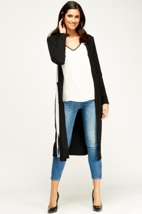 Ribbed Logo Back Long Cardigan