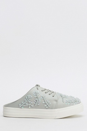 Embellished Side Slip On Trainers