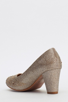 Gold Lurex Diamante Pump Heels