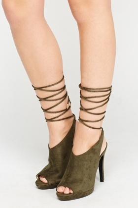 Tie Up Suedette Peep Toe Heels