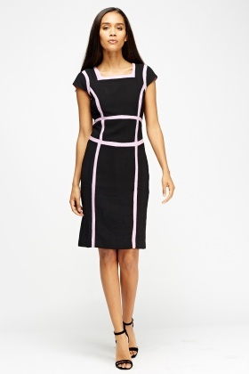 Contrast Stripy Pencil Dress