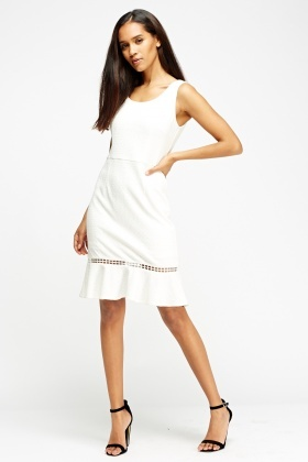 Laser Cut Flare Hem Dress