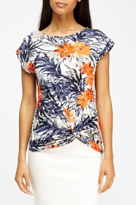 Printed Ruched Hem Top