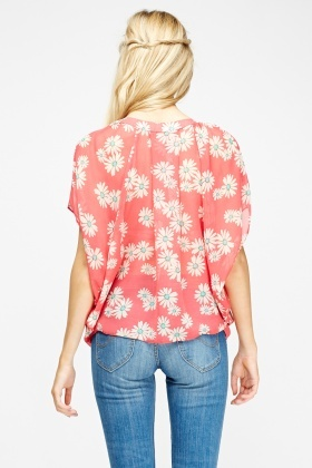 Daisy Print Box Blouse