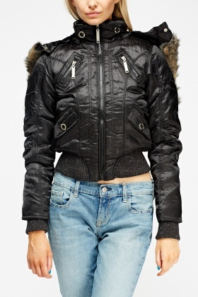 High Neck Contrast Cropped Jacket