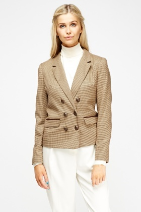 Houndstooth Double Breasted Blazer