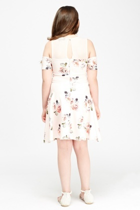 Mesh Insert Cold Shoulder Floral Dress