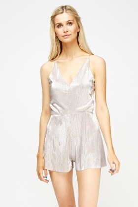 Metallic Pleated Champagne Playsuit