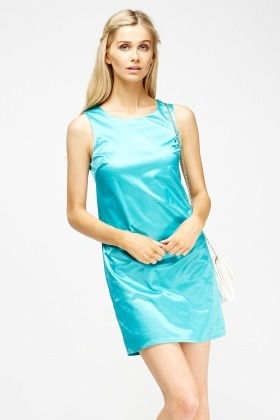 Satin Shift Aqua Dress