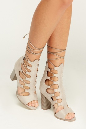 Cut Out Lace Up Sandal Heels