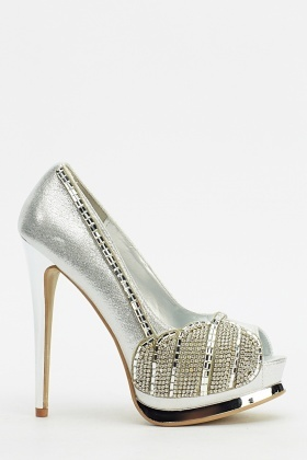 Encrusted Contrast High Heels