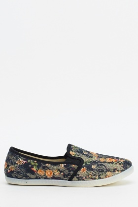 Floral Print Metallic Slip On Shoes