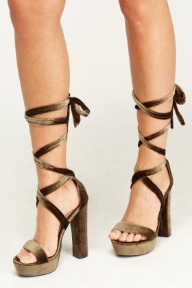 180eb354176f6c Velveteen Tie Up Sandal Heels - Just £5