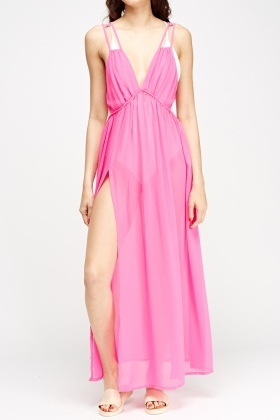 Hot Pink Sheer Cover Up Dress