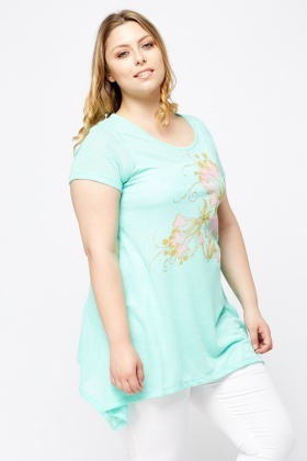 Mint Printed Asymmetric Top
