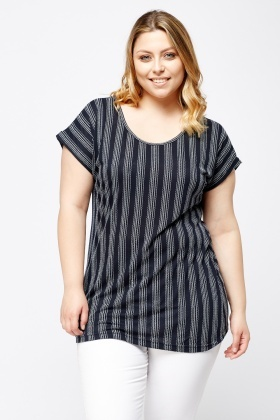 Stitched Pattern Striped Top