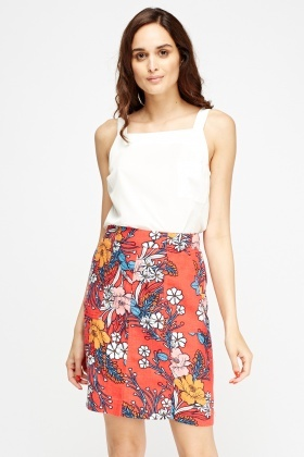 Floral Print Red Casual Skirt