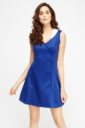 Insert  Contrast Casual Skater Dress