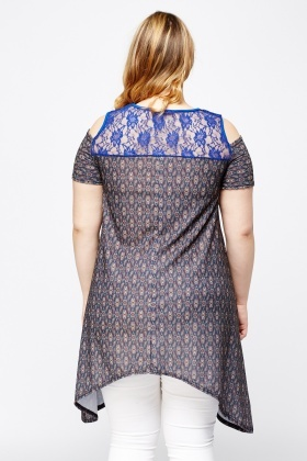 Lace Insert Asymmetric Printed Top