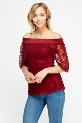 Lace Overlay Off Shoulder Top