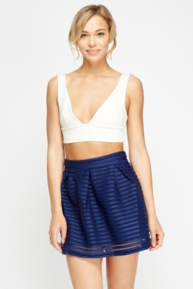 Mesh Overlay Mini Skater Skirt