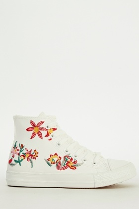 Embroidered Floral Faux Leather Trainers