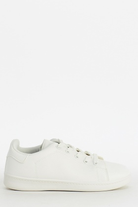 Faux Leather Lace Up Trainers