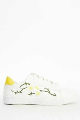 Flower Embroidered Side Trainers