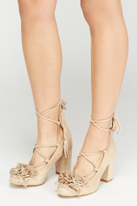 Fringed Tie Up Block Heels