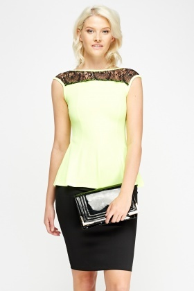 Lace Trim Peplum Top