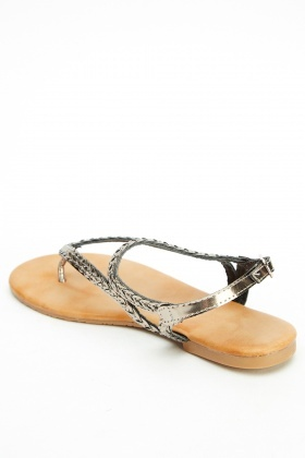 Metallic Twist Strap Flip Flop Sandals