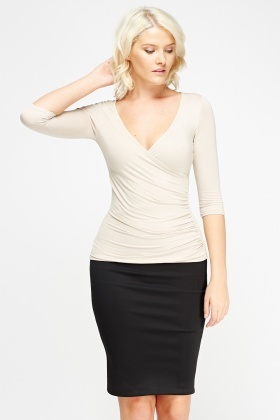 Ruched Low Neck Top