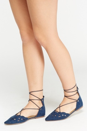 Tie Up Court Flat Shoes