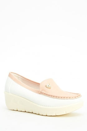 Two Tone Wedge Slip On Shoes