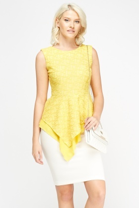 Yellow Asymmetric Peplum Top
