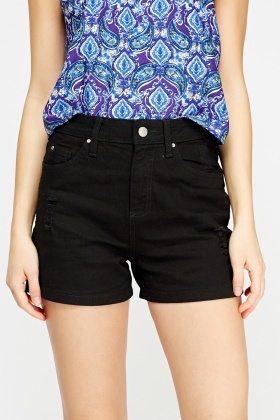 Black Distressed Denim Short