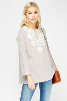 Embroidered Neck Casual Top