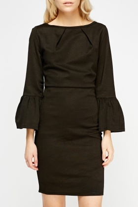 Flared Sleeve Coffee Dress