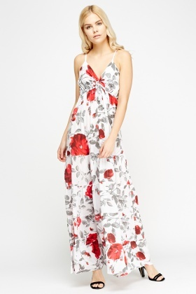 Floral Low Neck Maxi Dress