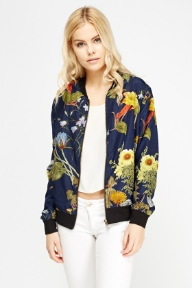 Light Weight Floral Bomber Jacket