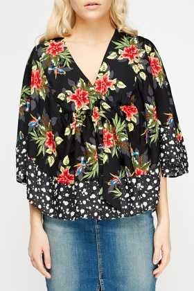 Sheered Printed Poncho Top