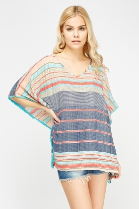 Stitched Pattern Box Poncho