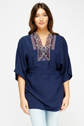 Aztec Embroidered Tie Up Tunic