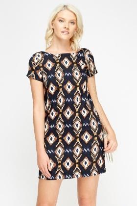 Casual Printed Shift Dress - Just $6